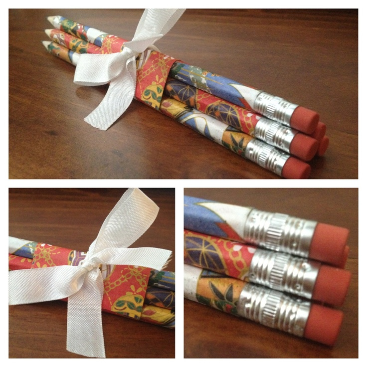 Washi paper wrapped pencil gift set. I found the idea on KIN network on YT