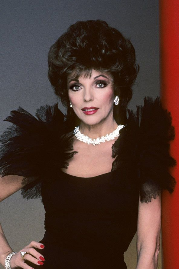 Joan Collins, 1981, cult tv program Dynasty (and, of course, the power shoulder) as arch bitch Alexis Carrington.