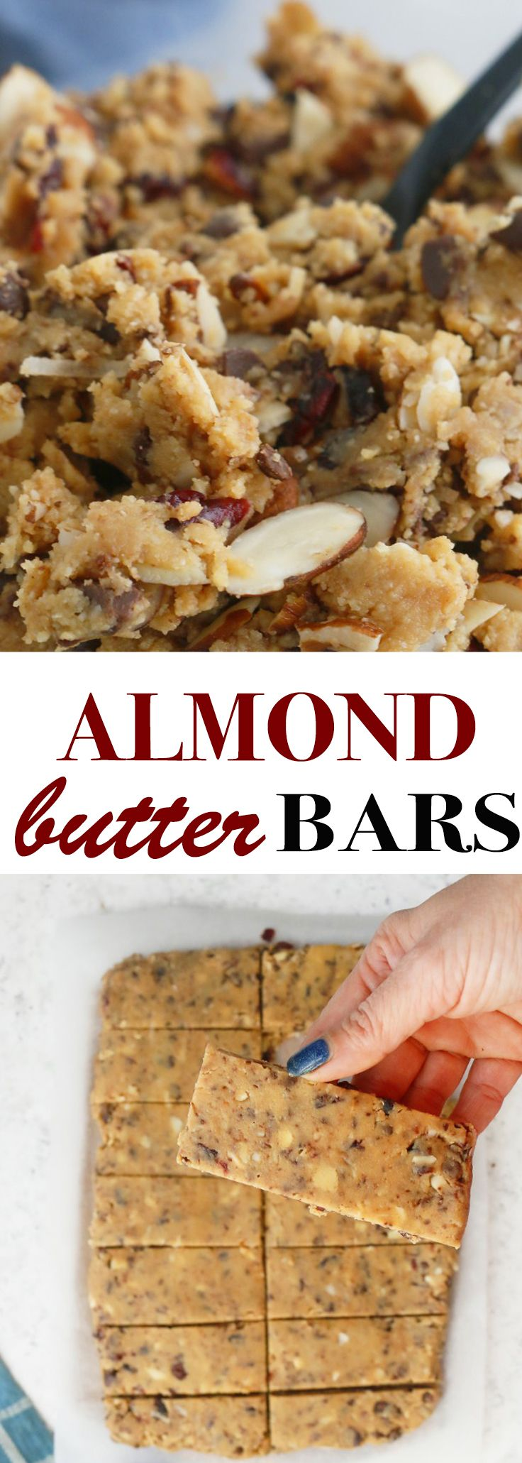 The best no bake almond butter bars recipe. Healthy, raw, gluten free, Protein rich, dairy free and vegan with triple th…