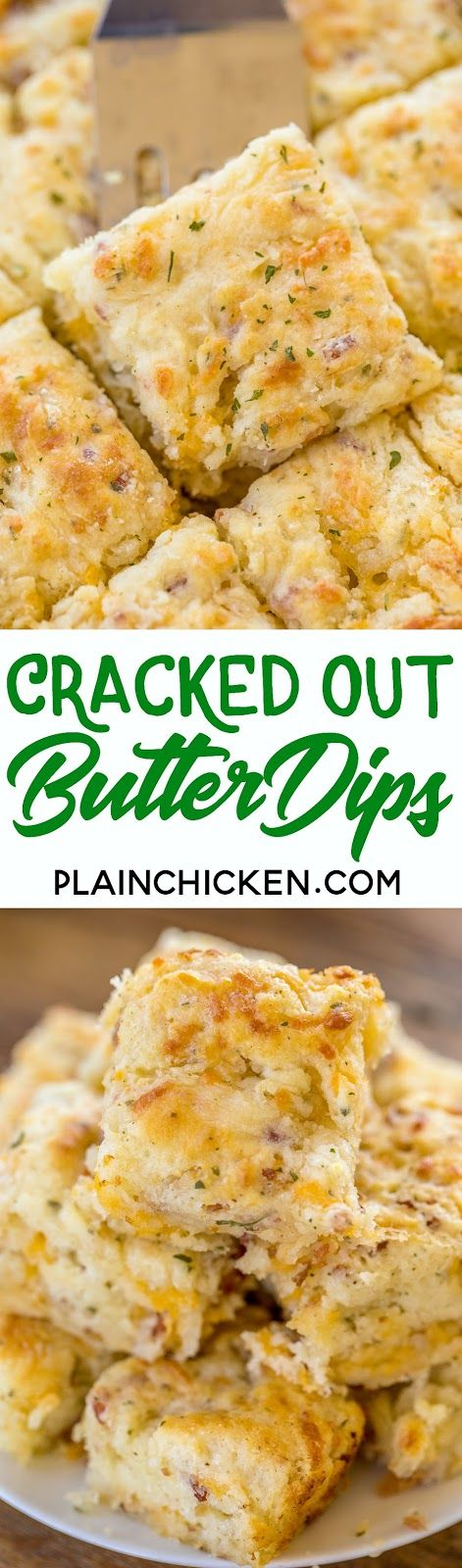 Cracked Out Butter Dips – biscuits loaded with cheddar, bacon and ranch! Only 8 …