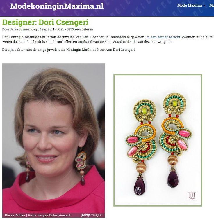 Queen Mathilde of Belgium wearing a pair of Dori's Maharajah earrings! #DoriCsengeri #QueenMathilde #statementearrings #highfashionjewelry #designerearrings