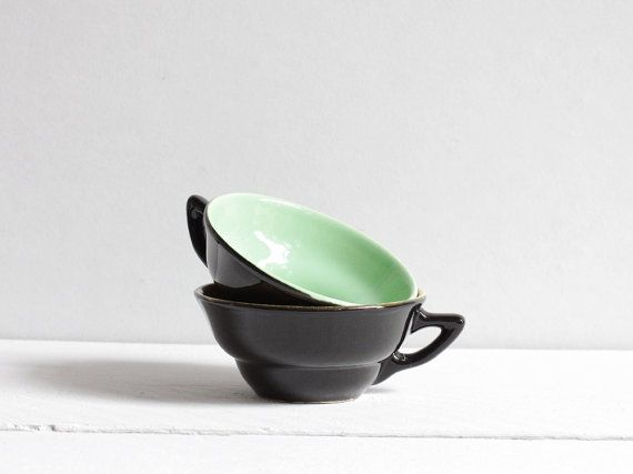 Vintage coffee cups Two beautiful black coffee cups by FrenchFind,