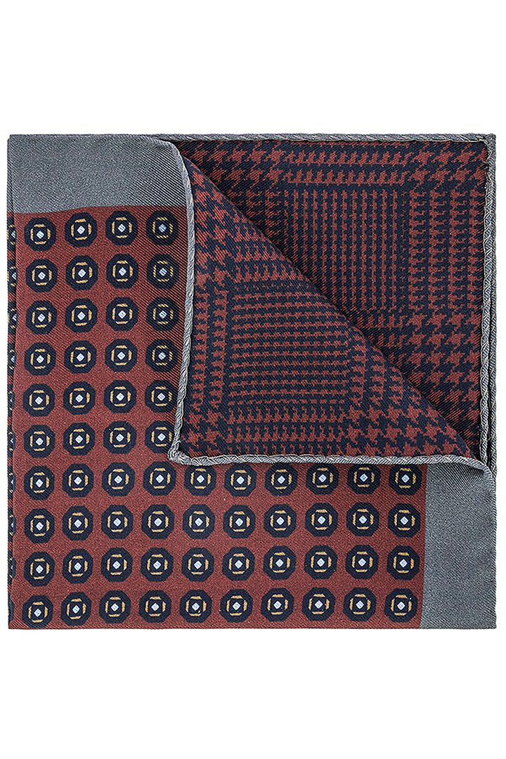 DOUBLE SIDED PATTERNED SILK POCKET SQUARE - MADE IN ITALY, Burgundy - Grey