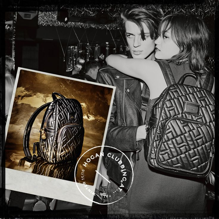 Rock-chic style. ‪#‎HOGAN‬ Women's backpack in black leather. ‪#‎HOGANClub‬ ‪#‎HOGANClubbingAt‬