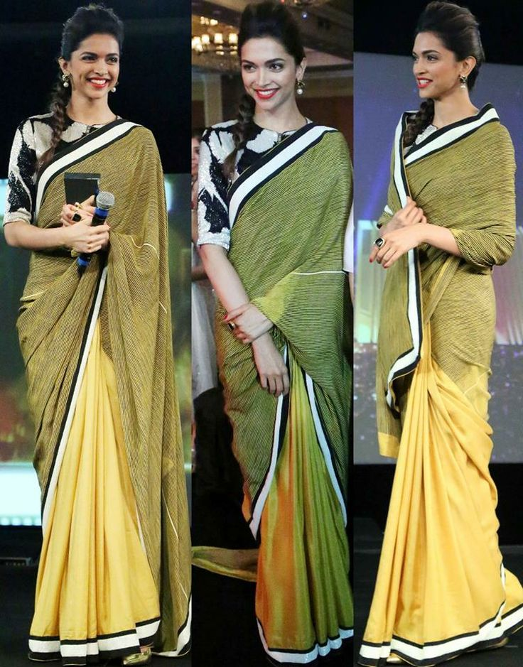 #Actress #DeepikaPadukone at #NDTVAwards2014 in a Classic # Saree. We loved her style. Whats your opinion.  #Buy #Designer #Sarees at www.panashindia.com