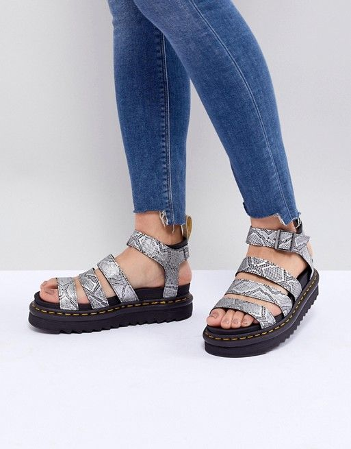 Sandals 2019Walk The Dr Blaire Martens In Strappy Flat Silver N8nOym0vwP