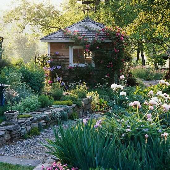 Who wouldn't want to hideaway in this gorgeous garden shed! See more inspiring landscapes here: http://www.bhg.com/home-improvement/outdoor/retaining-walls/dry-stack-walls/?socsrc=bhgpin062112drystackwalls