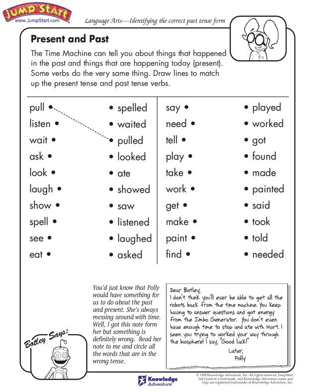 3rd Grade: Don't get tensed about teaching kids the tenses. Here is a simple worksheet to help the little ones identify the correct past tense forms of different words. The 'Present and Past' English worksheet has a list of verbs in one column and their past tense in another column. Kid need to match the verbs with their past tense forms. One example has already been done. Watch the little ones complete this worksheet in no time and master the tenses!