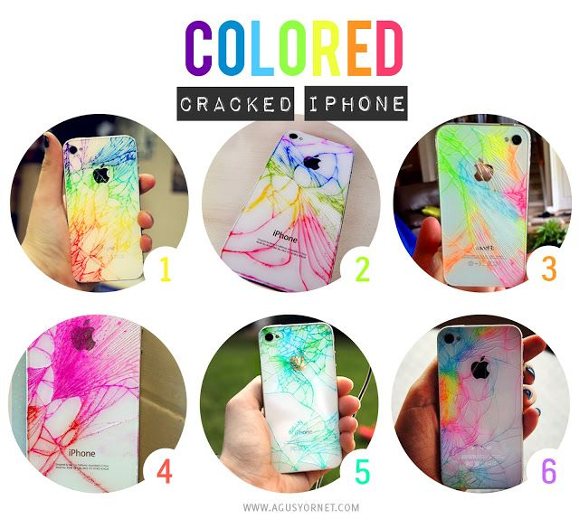 Cracked iPhone! Color cracks with sharpies and then wipe off the excess with rubbing alcohol so the color will remain in the cracks!