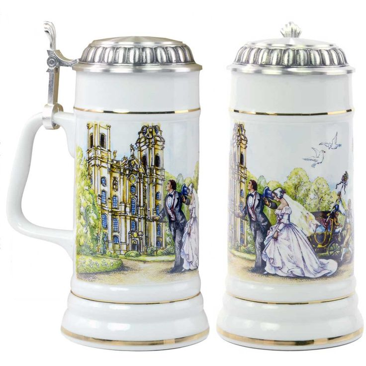 Porcelain German Beer Stein is perfect for a German wedding. This 0.5 liter beer stein makes the perfect wedding gift. Material; Porcelain. Origin: Germany. Dim: 8.25 inches tall. $94.99