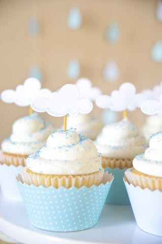 Special cloud cupcakes for baby showers.Baby Shower Cupcakes, Baby Shower Ideas, Cupcakes Toppers, April Shower, Cups Cake, Bridal Shower, Baby Boys Shower, Rainy Days, Baby Shower