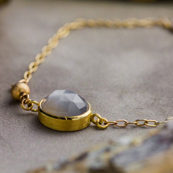Natural 5CT Moonstone Bracelet in 14K Yellow Gold by ZEHAVAJEWELRY