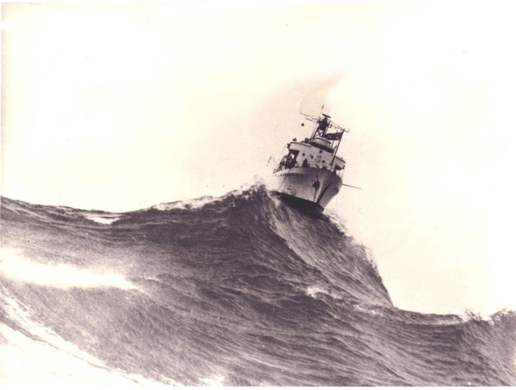 HMAS VIDAL (?), Big Swell. 1940. This needs research; the Australian Navy never had a vessel called Vidal. There was a Royal Navy survey ship, HMS Vidal. However, she was not launched until 1951. Still a great picture though.