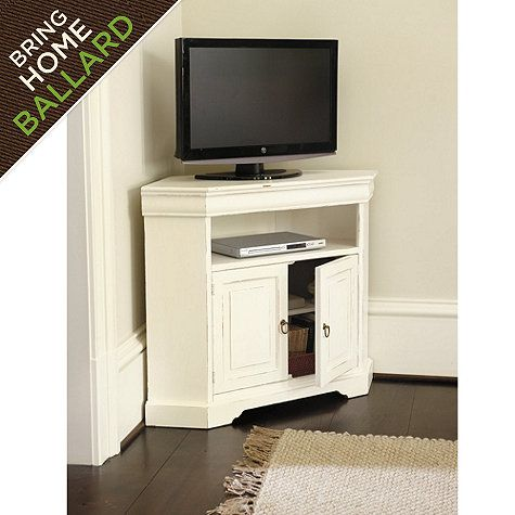 Angullo Corner Media Cabinet for #399 from Ballard Designs.  This corner TV cabinet is designed to take advantage of every square inch in smaller spaces like a kitchen or bedroom. The corner-angled top...