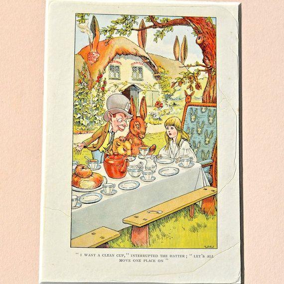 1907 Alice in Wonderland Madhatter stampa di FeltersCottage, £12.00