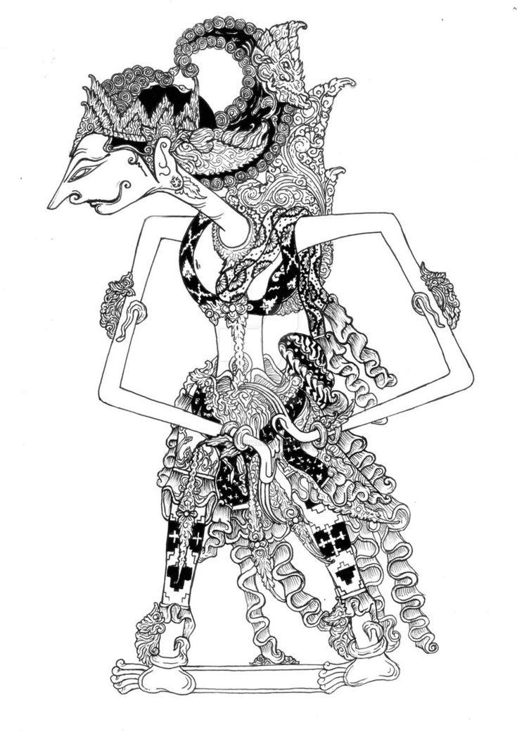 Menyontoh dari wayang wibisana yg asli. sebagai tugas ilustrasi aplikatif. menggunakan pensil, drawing pen, dan spidol.