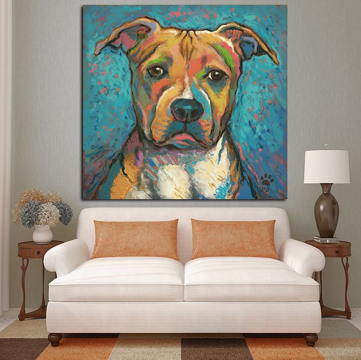 Pitbull abstract wall oil painting print on canvas for Abstract salon of the arts