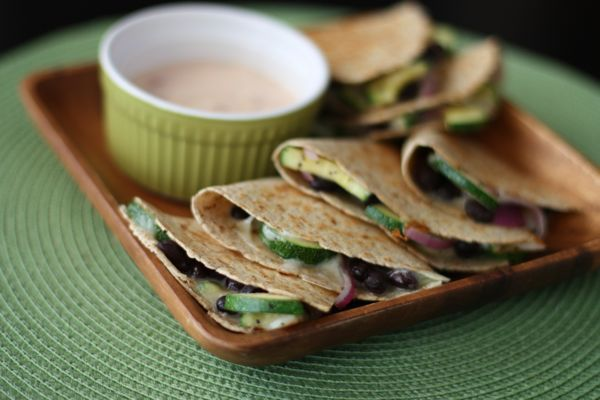 Zucchini, Red Onion and Black Bean Quesadillas: Corn Quesadillas, Bean Quesadillas, Black Beans, Black Bean Quesadilla, Recipes, Quesadillas Beanitos, Vegetarian, Aggies Kitchen, Beanitos Beans