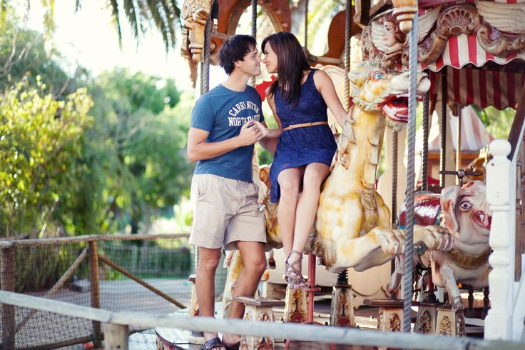 Engagement Photography - Carousel - Engaged - Colorful - Love