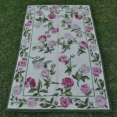 3'x5' Handmade Wool Toile Portuguese Needlepoint Area Rug w Pink Roses Allover