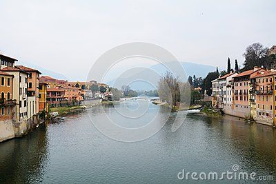 Landscape and the Brenta river in the old town of Bassano del Grappa, Veneto, Italy.
