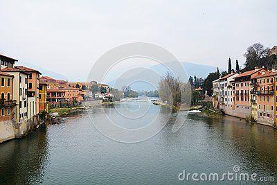 Landscape and the Brenta river in the old town of Bassano del Grappa, Veneto, Italy.