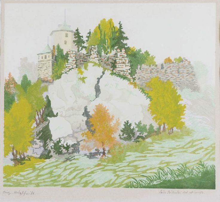 ✨  Władysław BIELECKI (1896-1943) - Pejzaż z ruinami zamku - Ojców; drzeworyt barwny, papier, 25,7 x 29,4 cm; sygn. p. d.: Lad. Bielecki del. imp. (ołówkiem); napis l. d.: Orig. Holtzschnitt (ołówkiem) ::: Colour woodcut