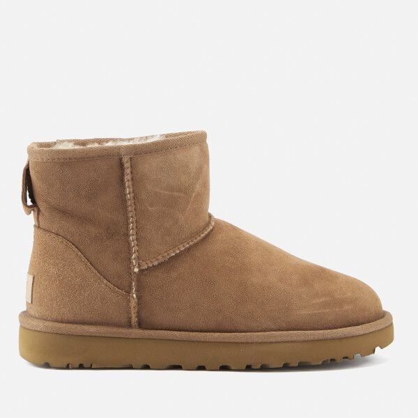 UGG Women's Classic Mini II Sheepskin Boots - Chestnut ($175) ❤ liked on Polyvore featuring shoes, boots, ankle booties, ankle boots, tan, flat boots, sheepskin lined boots, tan booties, tan boots and flat ankle booties