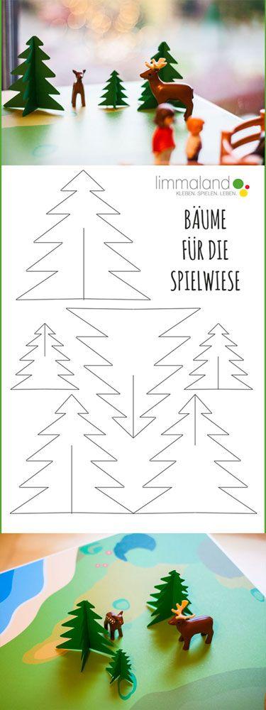Bäume für Kinder Wildpark, Zoo, Bauernhof & Co. selber basteln! Free Printable: Trees for kids play tables