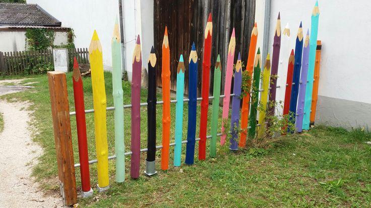 #Bleistifte #Zaun #Selbstgemacht #DIY #Holz #bunt