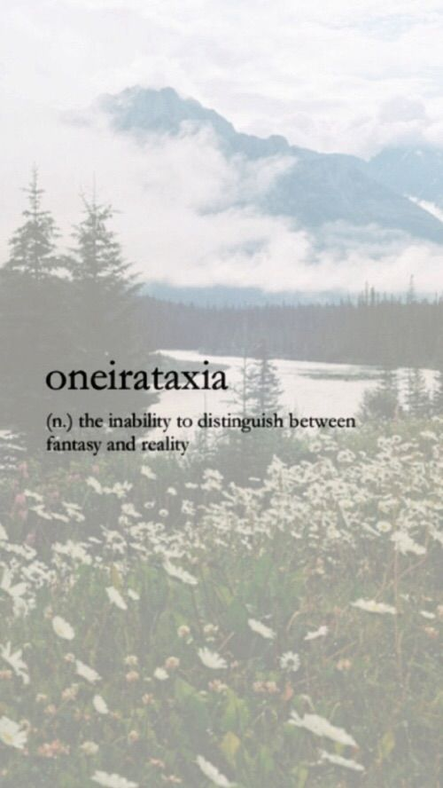 ONEIRATAXIA  (n) the inability to distinguish between fantasy and reality