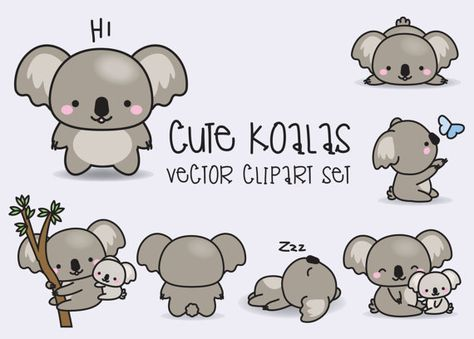 Premium Vector Clipart – Kawaii Koala – Cute Koalas Clipart Set – High Quality Vectors – Instant Download – Kawaii Clipart