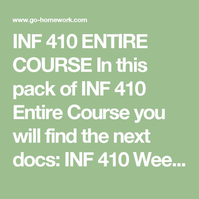INF 410 ENTIRE COURSE In this pack of INF 410 Entire Course you will find the next docs:  INF 410 Week 1 DQ 1 Project Life Cycle.doc INF 410 Week 1 DQ 2 The Importance of Project Management.doc INF 410 Week 1 Quiz.doc INF 410 Week 2 DQ 1 Project Charter.doc INF 410 Week 2 DQ 2 Project Management Plan.doc INF 410 Week 2 Quiz.doc INF 410 Week 3 DQ 1 Risk Identification.doc INF 410 Week 3 DQ 2 Triple Constraint.doc INF 410 Week 3 Quiz.doc INF 410 Week 4 Assignment Monthly Status Report to…