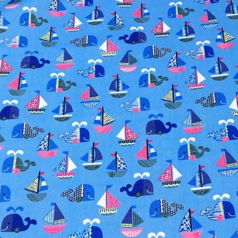 Cosmo Textiles Whales in Blue