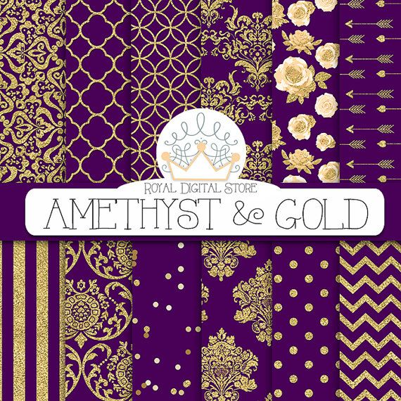 Purple digital paper: AMETHYST & GOLD with by royaldigitalstore #purple #amethyst #gold #damask #digital #paper #download