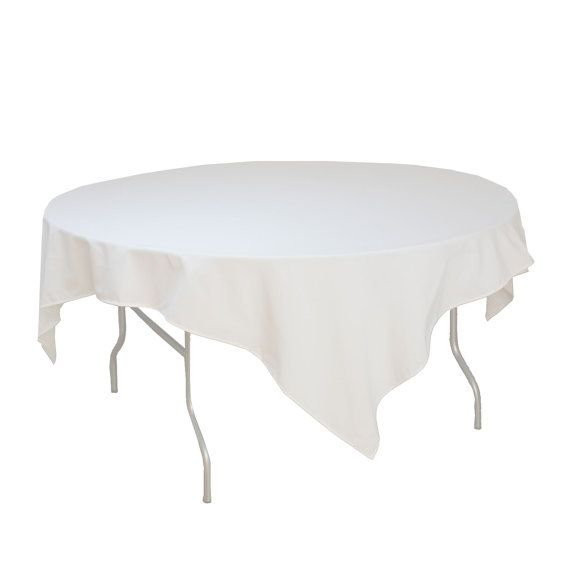 85 x 85 inch White Square Table Overlays, White Square Tablecloths, Matte Table Overlays for 6 FT Round Tables | Wholesale Table Linens