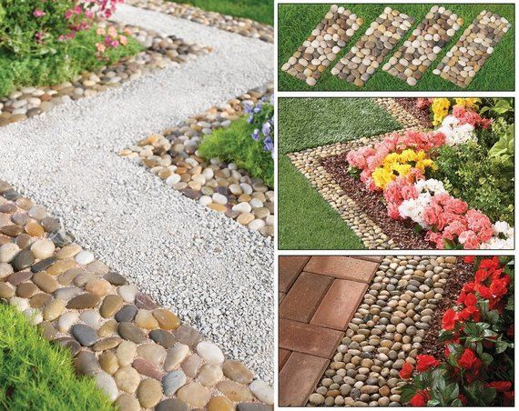 Create Own Stone Pebble Garden Path Mats Outdoor Pathway 4 Count