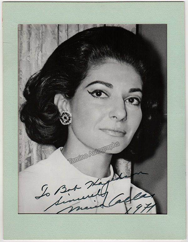 Nice, larger size photo of the superstar soprano (1923-1977), inscribed and dated in 1971. Photo is attached to a mat but can easily be removed , is stamped on verso by Capitol Records. Photo is 8 x 1
