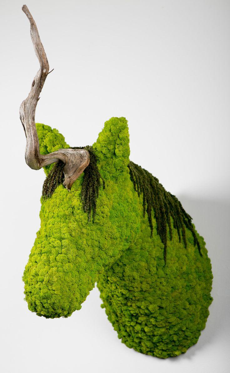 Uni.corn | greenarea  Unicornio decoración natural para pared, hecha en liquen preservado. #animaldecor #escultura #animalhead #cabezadeanimal #animal #homedecor #naturaldecor #unicorn #unicornio #lichen #liquen #greenery