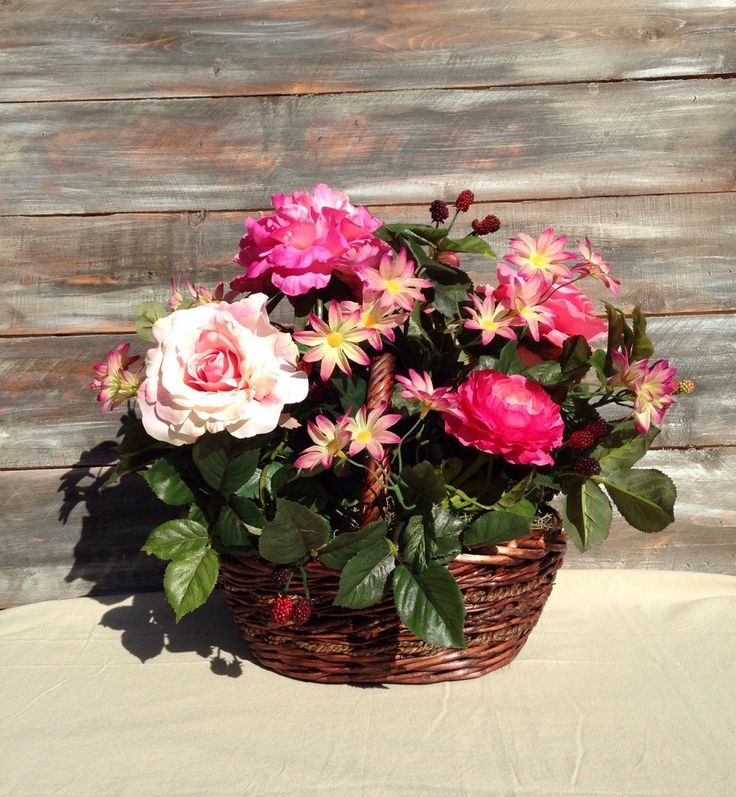 Raspberries Basket, Pink Easter Flower Basket, Pink Peonies, Blush Roses, Purple Flowers, Spring Basket, Fruit Flower Basket, Summer Flower by FloralforEveryRoom on Etsy https://www.etsy.com/listing/517118381/raspberries-basket-pink-easter-flower