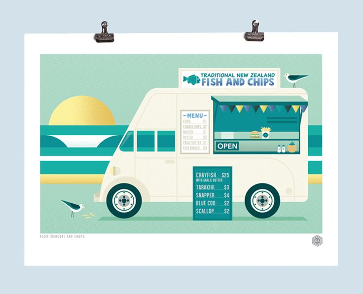 Fish and chip van art print.