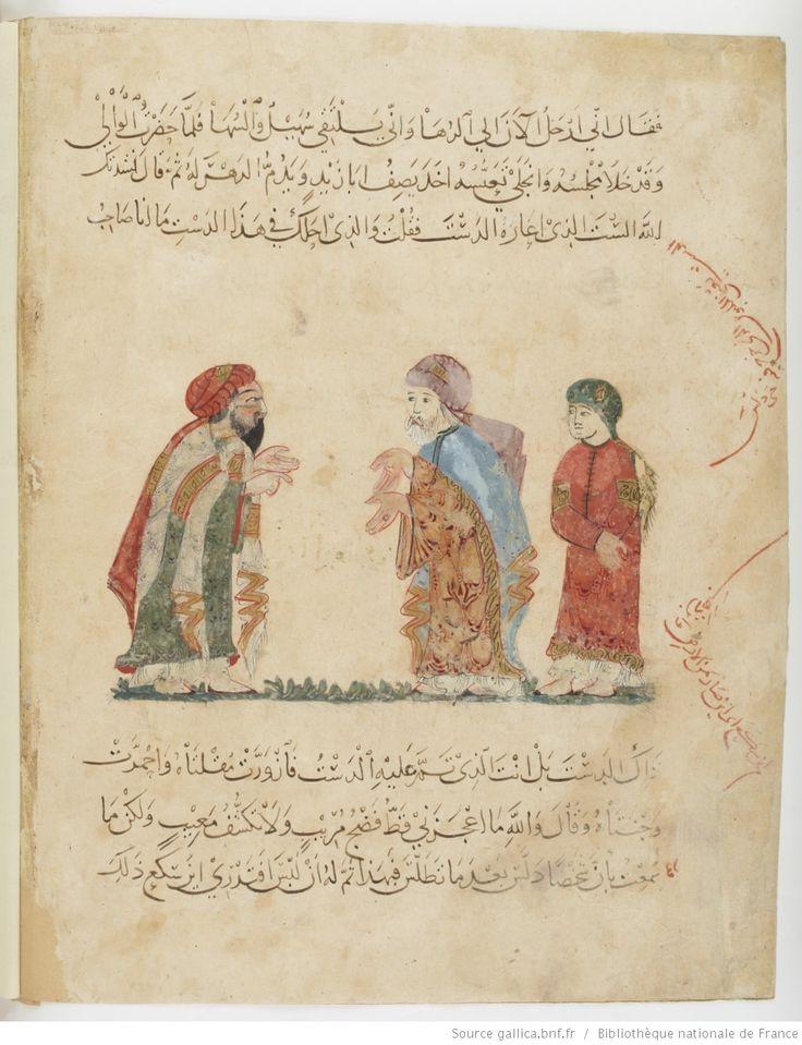 folio 67v, maqama 23. Abu Zayd, his son and al-Harith