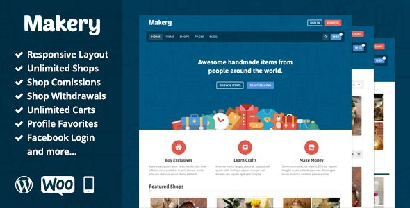 Makery is a perfect theme for any martkeplace website. It's not just a theme, but application with awesome built-in features, such as unlimited shops, multiple carts, shop comissions and m...