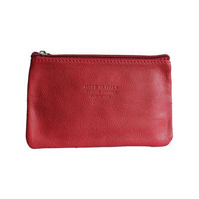 Martha Italian Red Leather Cosmetic/Makeup Bag - £12.99