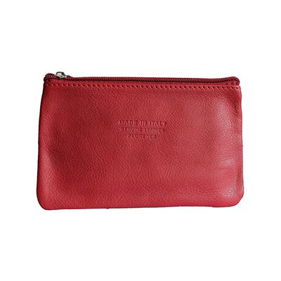 Martha Italian Red Leather Cosmetic/Makeup Bag - £12.99