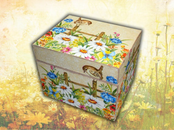 Girl's Wooden Gift's Box with flowers  Jewelry by WoodenDecorate, $40.00