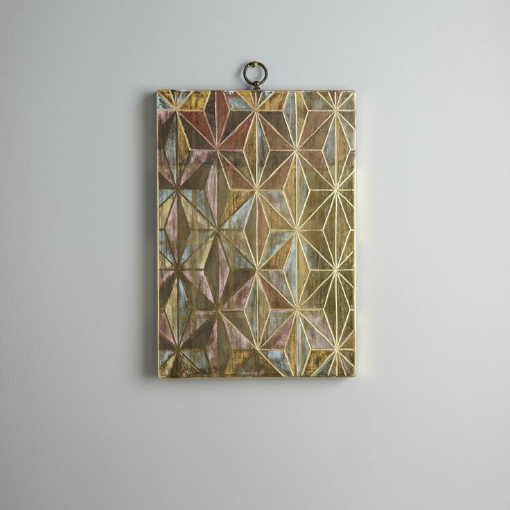 Kimono I. 29 x 20 cm. A pattern of carved gesso, watercolour and clay colours overlaid with burnished 23 carat gold leaf.