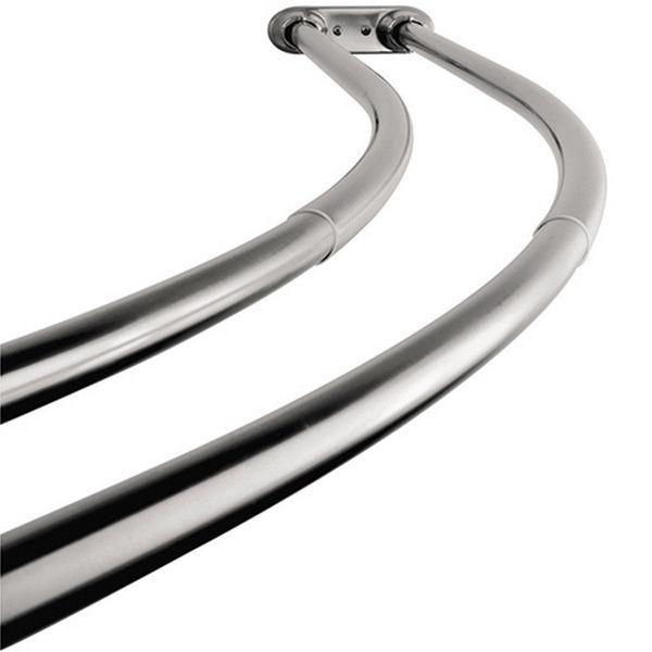 Curved Adjustable Chrome Double Shower Curtain Rod
