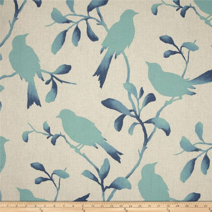 Magnolia Home Fashions Rockin' Robin Breeze from @fabricdotcom  Screen printed on (approx. 6 ounce) cotton duck, this versatile, medium weight fabric is perfect for window accents (draperies, valances, curtains and swags), accent pillows, bed skirts, duvet covers, slipcovers, upholstery and other home decor accents. Create handbags, tote bags, aprons and more. Colors include blue, aqua and tan.