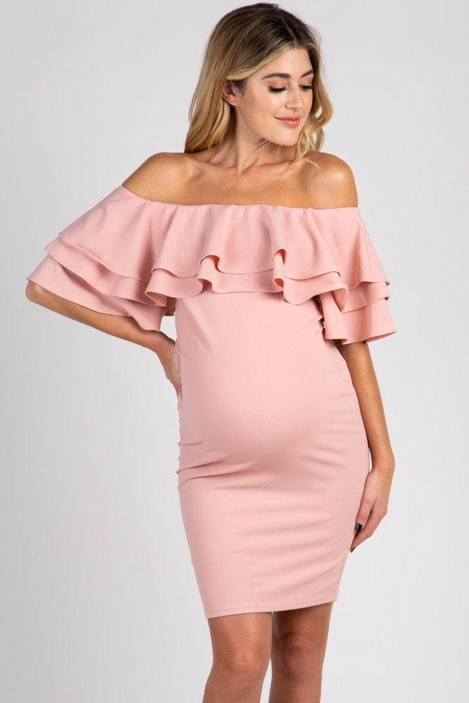 2df73544b7d6 Light Pink Layered Ruffle Off Shoulder Fitted Maternity Dress ...